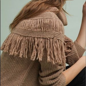Anthropologie fringed pull over sweater